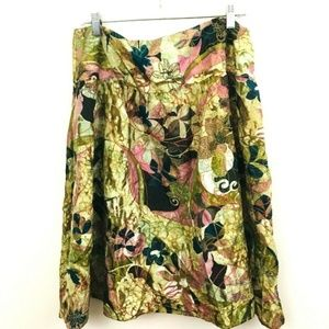 Chico's 3 Embroidered Silk Skirt 16